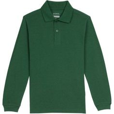 George Boys School Uniforms Long Sleeve Pique Polo Shirt, Size: XS (4/5), Green