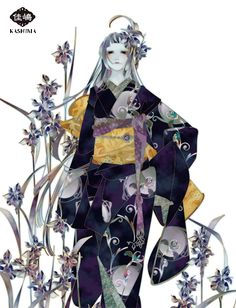 "Art by Kashima. ""Japanese iris"""