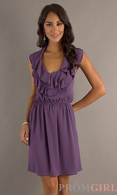 Short Ruffle Trim Scoop Neck Dress with contrasting sash