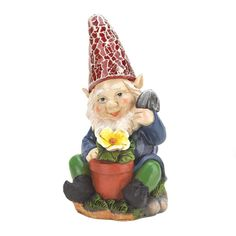 Here's a happy gardener who's ready to add some cheery light to your yard. This adorable gnome is proudly tending to his yellow bloom and his red hat will shine. Gardening Gnome Solar Statue by Custom Made. #myCustomMade