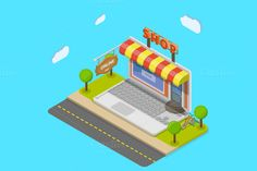 Online shop isometric concept by AndriiStore on Creative Market