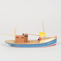 Available now in the Tom Pigeon shop. and made by hand in the north of Scotland. Unique Kids Toys, Fishing Vessel, Front Deck, Time Kids, Steel Metal, Fishing Boats, Handmade Toys, Pigeon, Wooden Toys