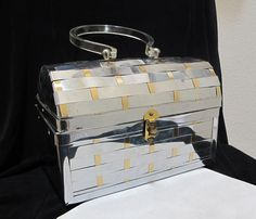 Vintage 50s Woven Silver Gold Tone Metal Lunchbox Style Purse Lucite Handle