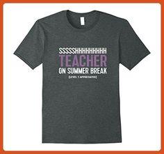 Mens Funny Teaching TShirt: Ssshhh Teacher On Summer Break Tee XL Dark Heather - Funny shirts (*Partner-Link)