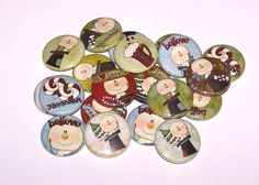 """Holiday Snowman & Treats Set of 10 Buttons 1"""" Pins or Magnets by DistinctDesignsUnltd on Etsy https://www.etsy.com/listing/113449325/holiday-snowman-treats-set-of-10-buttons"""