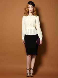 Biba 1940`s style silk fitted blouse Ivory - House of Fraser - love everything about this look.