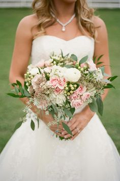 A sweet pink, white and green bouquet by The French Bouquet. Photo by Aaron Snow Photography. #wedding #bouquet #pink