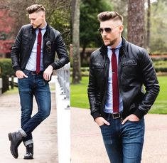 Casual look with red knit tie, jeans, and leather jacket