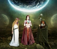 Symbolism and magical correspondences of the maiden, Mother and Crone, who make up the Wiccan Triple Goddess Triple Goddess, Moon Goddess, Sacred Feminine, Divine Feminine, Maiden Mother Crone, Tarot, Gypsy Moon, Pagan Art, Pagan Witch