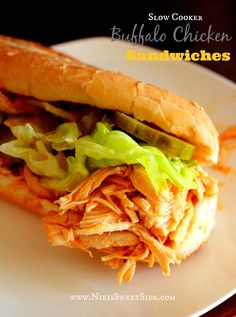 Serves 6 Ingredients: 3-4 medium sized bone-less/skinless chicken breasts (about 2 lbs) 6 oz Frank's Buffalo Sauce 6 oz Frank's Red Hot Sauce (OR omit this and use 12 oz Buffalo Sauce total) 1/4 cu...