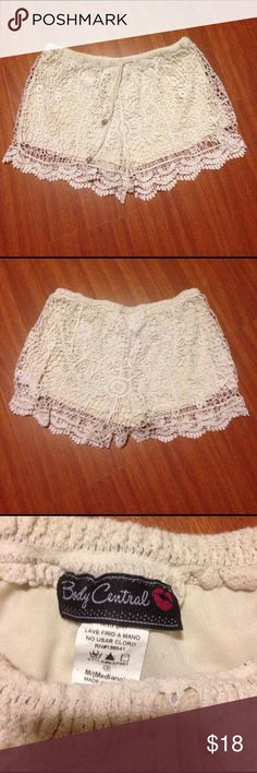 Lace Shorts Lace Shorts-Size Medium-Off white color-Lace overlay-100% Cotton-Elastic waist with ties-Great Condition-Any questions just ask! No trades Body Central Shorts