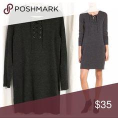 Like new Madewell Dress! Sz L Sweater Lace up dress Madewell Dresses Long Sleeve