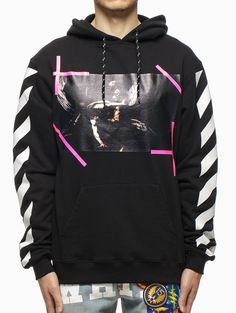 """""""Caravaggio"""" hooded sweatshirt from the S/S2015 Off-White c/o Virgil Abloh collection in black."""