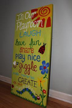 Playroom Rules. Playroom Art. Kids room art.