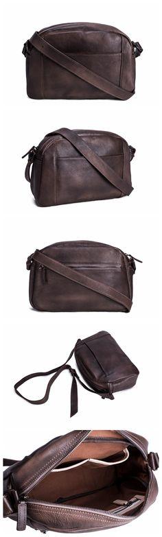 Handmade Vegetable Tanned Leather Men Messenger Bag, Crossbody Shoulder Bag, Satchel Bag