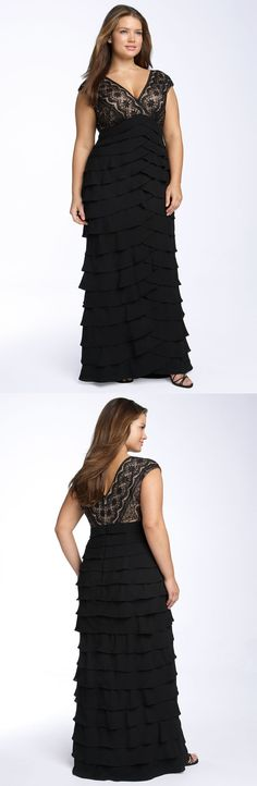 Adrianna Papell. Lace Bodice Shutter Pleat Gown (Plus Size).