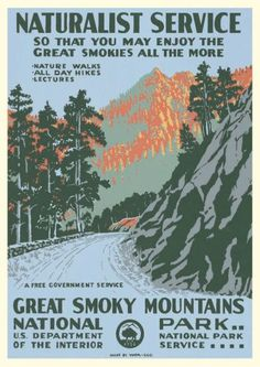 'Vintage Travel Poster - Great Smoky Mountains National Park' Sticker by Ninboy Wpa Posters, Poster S, Movie Posters, All Nature, Walking In Nature, Great Smoky Mountains, Vintage National Park Posters, Adventure Nursery, Smoky Mountain National Park