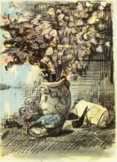 Honesty in a Vase - Vincent van Gogh . Created in Nuenen in Located at Van Gogh Museum. Find a print of this Letter Sketches Van Gogh Pinturas, Vincent Van Gogh, Van Gogh Drawings, Van Gogh Paintings, Desenhos Van Gogh, Van Gogh Arte, Art Van, Dutch Painters, Post Impressionism
