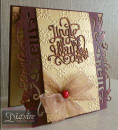 Angela Clerehugh – 6 x 6 Card - Die'sire Christmas Only Words Classiques (Jingle All The Way) – Die'sire Edge'ables (Jingle Bells) – Sheena Embossing Folder - Gilding Wax (Renaissance Gold) – Collall Tacky Glue – Crafter's Companion Tape Pen - Burgundy Card – Gold Mirror Board Card – Gem - Ribbon - #crafterscompanion #Christmas