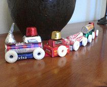 Christmas crafty candy train with left over candy from halloween