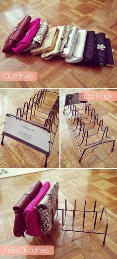 DIY: Clutch Organizer (using kitchen lid rack)... been looking for something like this for forever!