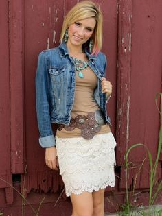 I love the idea of pairing country with girly...I'd just pair a little bit longer of a skirt with the look.
