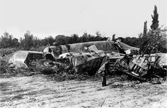Wreck of Italian Bomber Piaggio P-108B that Bruno Mussolini Died in near Pisa, Italy, 1941 by  Unknown Artist