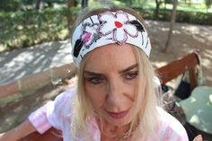 White linen headband, Boho Hippie beach headband, Festival woman bandana, elastic retro head, Floral summer headband, modern retro recycle