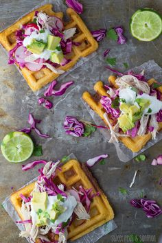 CHIPOTLE-CORNMEAL WAFFLE TOSTADAS WITH CHICKEN & LIME CREMA