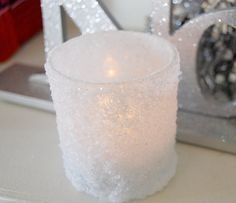 snowy votive, candle, recycle, epsom salt, glitter, christmas, decor, holiday, decor, kids crafts, handmade, homemade, diy