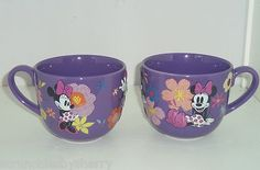 Disney Store Minnie Mouse Purple Floral Coffee Mug NEW