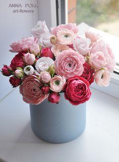 polymer clay, porcelain clay, цветы из глины, полимерная глина, колодный фарфор, цветы в коробке, цветы в шляпной коробке