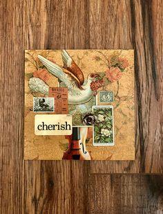 Cherish, Collage Art, Mixed Media Art, Collage, Dove by DeniseCerroStudio on Etsy