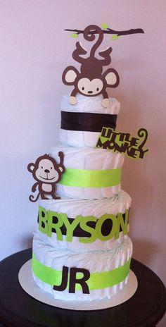 4-tier Diaper Cake (Monkey Theme)