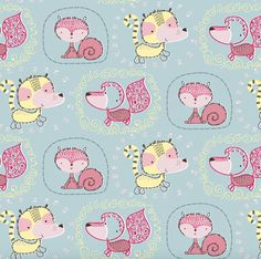 15 Yards in Stock - 3 Wishes Fabric - Animals on Blue from the collection Whimsy Woodland - 12733 - 100% Cotton