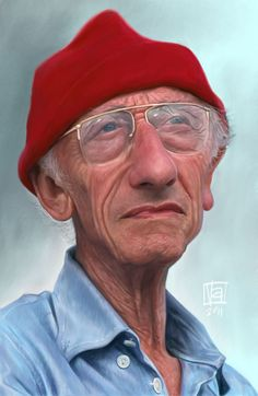 Jacques Cousteau by Vincenzo, caricature cartoon portrait drawing face stylized