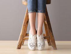 Women's Handmade Hollow Low Top Shoes / white – a unique product by youzi via en.DaWanda.com