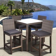 Atlantic Monza All-Weather Wicker Square Bar Height Patio Dining Set - Seats 4