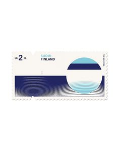 Graphics we like / Stamp / Finland / Stamp concept/ Waves / Blue