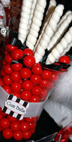candy buffet, red, black,suckers, gumballs