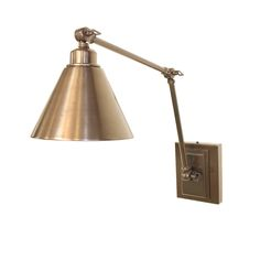 """581-S-1  Woodrow Swing Arm Sconce  7.5"""" diameter shade x 23"""" maximum projection.  Shown in antique brass. Ratchet lock arm.  Read more ›"""