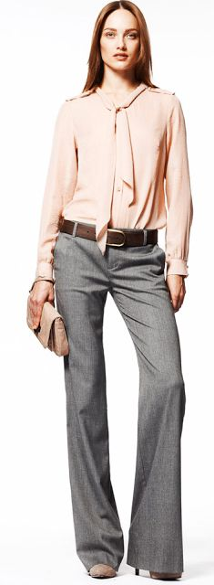 Outfit Posts: outfit post: pink tie front blouse, grey 'editor' pant, brown peep toed pumps