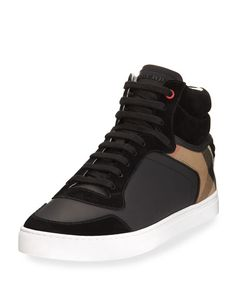 BURBERRY Reeth Leather & House Check High-Top Sneaker, Black. #burberry #shoes #