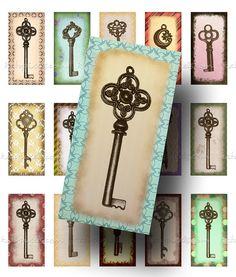 INSTANT DOWNLOAD Skeleton Keys 1x2 inch Rectangles door katypixels