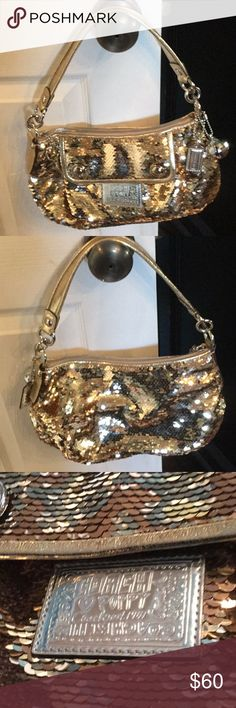 Coach Poppy Groovy Gold Sequins Bag Coach Poppy bag in gold sequin. Great condition only a little use shown on inside lining. Coach Bags