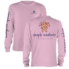 c827309bc62 Simply Southern Preppy Christmas Turtle Pink Long Sleeve T-Shirt Available  in sizes- Adult S