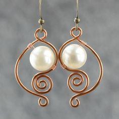 Wholesale Su Yuan white pearl earrings handmade earrings European and American female brass copper diy handmad, Free shipping, $21.82/Piece   DHgate