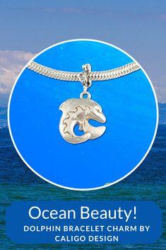 Silver Dolphin Charm - Ocean Charms - Dolphin Jewelry by Caligo Design - Nature Inspired Jewelry - #dolphinBraceletCharm #dolphinCharm #dolphinJewelry #seaLifeCharm #silverDolphinCharm #seaLifeJewelry  #oceanCharm #oceanJewelry  #beach #beachCharm #pandoraStyleDolphinCharm #OceanLifeCharm #SilverDolphincharms #charmBracelet #Charming Ocean Jewelry, Dolphin Jewelry, Nautical Jewelry, Beach Jewelry, Sterling Silver Rings, Silver Jewelry, Pandora Charms, Dolphins, Handmade Jewelry