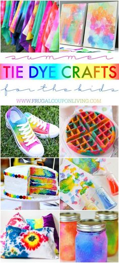 Summer Tie Dye Crafts on Frugal Coupon Living. Summer Bucket List Ideas for Kids including Tie Dye Ideas for your summer calendar. Crafts for kids list on Frugal Coupon Living.