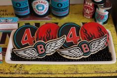 Cookies at a Motorcycle Rally Birthday Party with REALLY AWESOME Ideas via Kara's Party Ideas
